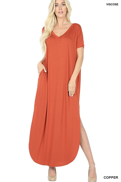 VISCOSE SIDE SLIT V-NECK MAXI DRESS - orangeshine.com