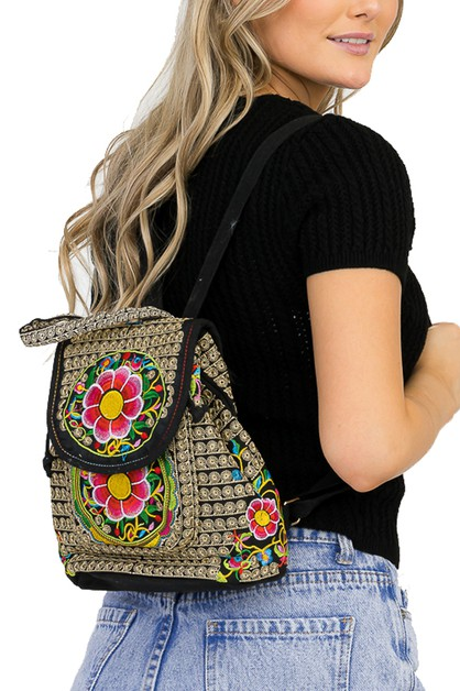 Boho Tropical Floral Garden Backpack - orangeshine.com