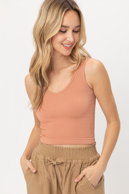SCOOPED KNIT TANK TOP - orangeshine.com