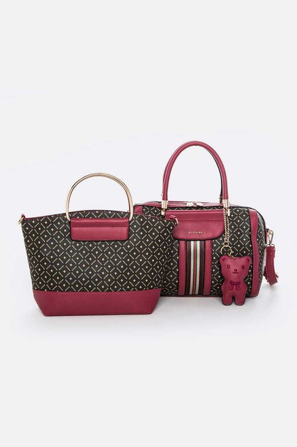 2 PC Bear Charm Handbag Set - orangeshine.com