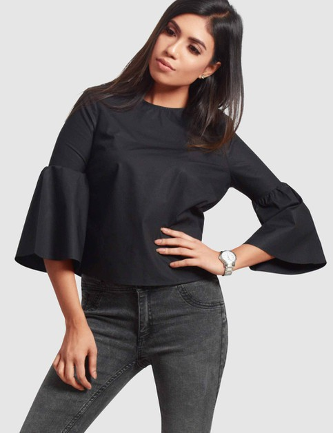 Three-Quarter Flare Sleeve Top - orangeshine.com