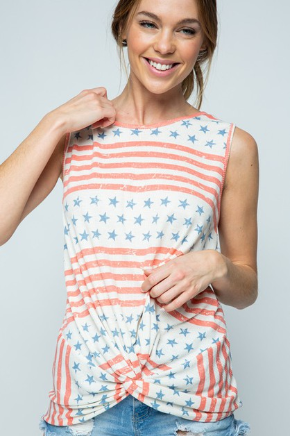 STAR AND STRIPE FRONT TWIST  TOP - orangeshine.com