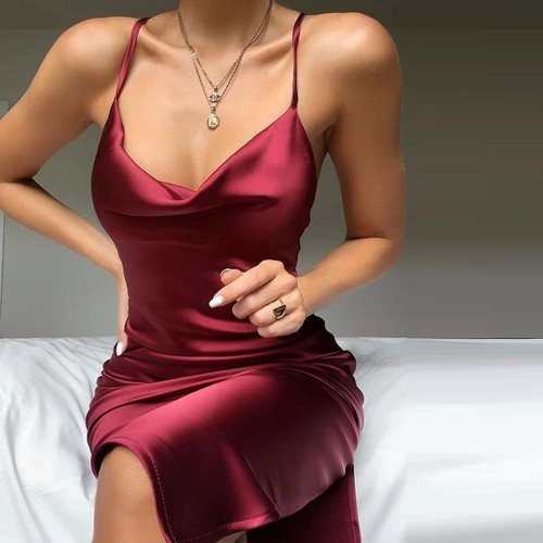 Sexy Satin Ruched Fashion Cami Dress - orangeshine.com