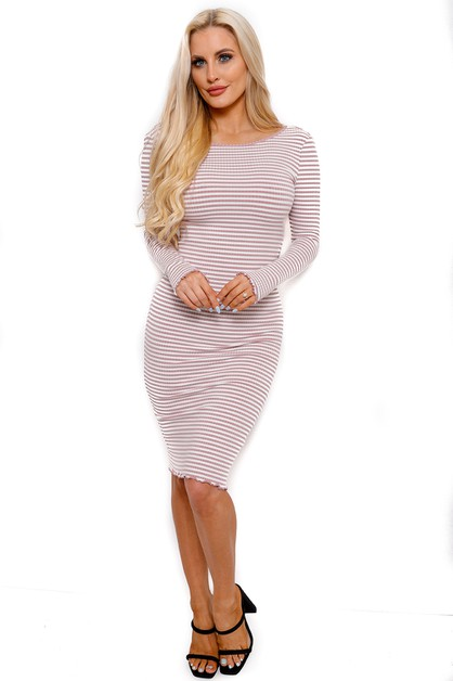 STRIPED LONG SLEEVE DRESS - orangeshine.com