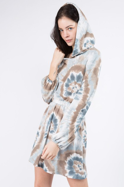 Tie Dye Hooded Terry Dress - orangeshine.com