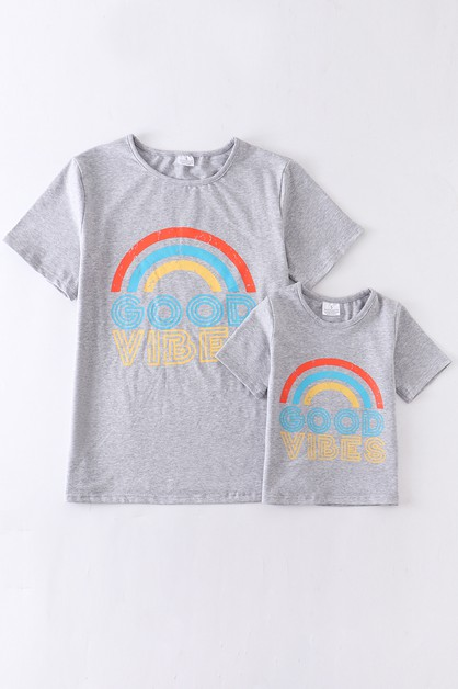 Good vibes rainbow mom and me shirt - orangeshine.com