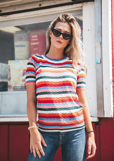 Striped Knitted Top - orangeshine.com