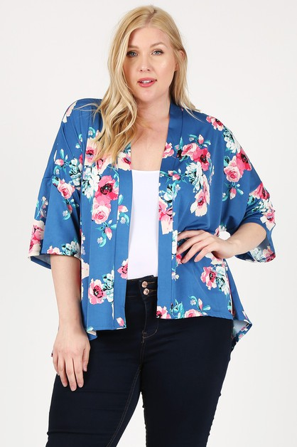 Plus Size Floral Short Sleeve Cardig - orangeshine.com