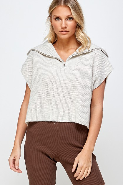 HALF ZIP UP SWEATER VEST TOP - orangeshine.com