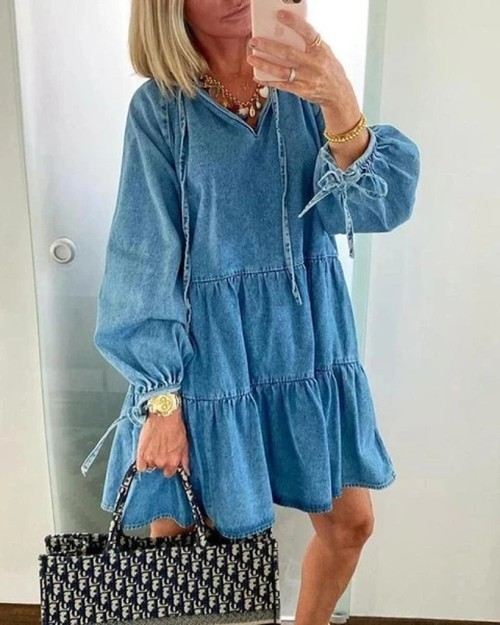 Casual Denim Loose Fit Ruffle Dress - orangeshine.com