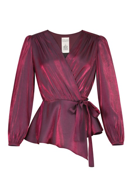 Plus Size Shimmer Wrap Blouse - orangeshine.com