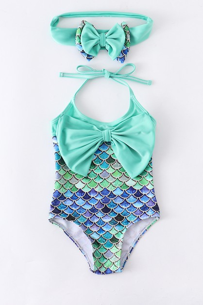 Mermaid scale bow bathing swimsuite - orangeshine.com