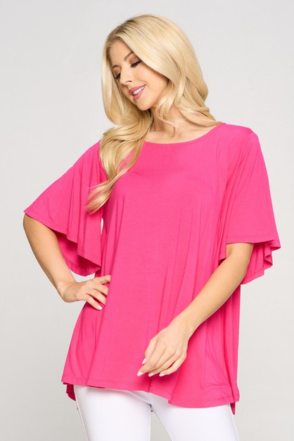 Short Sleeve Flowy Top - orangeshine.com