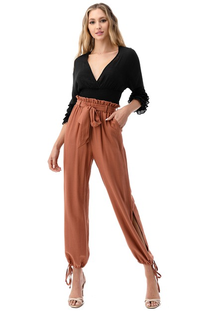 Paperbag Self-Tie Drawstring Pants - orangeshine.com