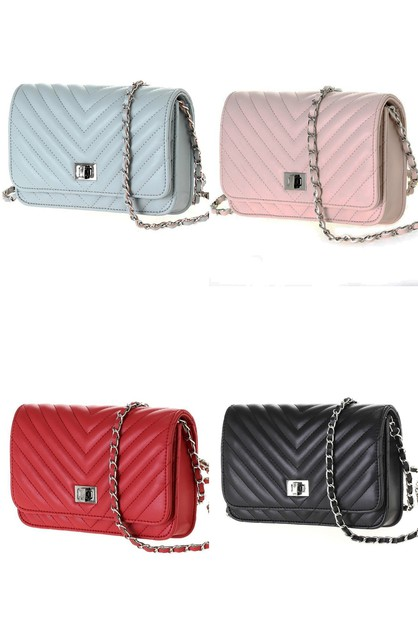 CHEVRON QUILTED CLUTCH CROSSBODY BAG - orangeshine.com