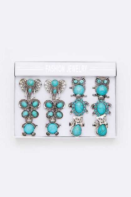 Turquoise Animal Adjustable Ring Set - orangeshine.com