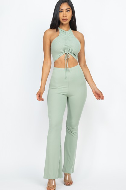 RUCHED CROP TOP AND BOOTCUT SET - orangeshine.com