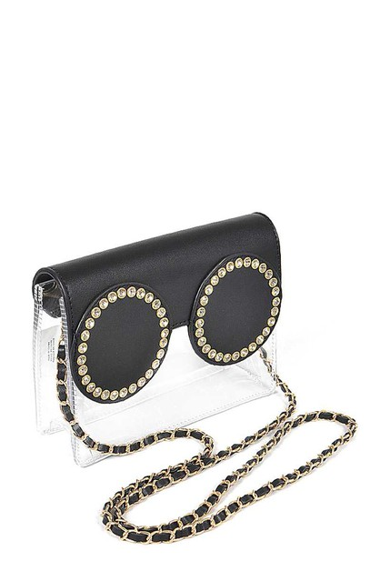 RHINESTONE GLASSES CLEAR CLUTCH - orangeshine.com
