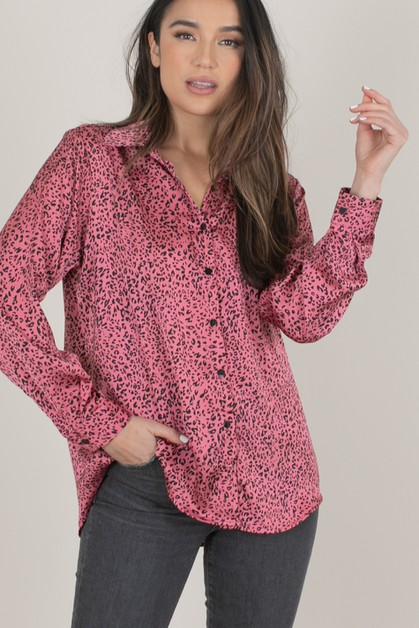 Satin Pink Leopard Button Down Shirt - orangeshine.com