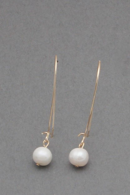 WIRE METAL  PEARL  DANGLE EARRIN - orangeshine.com