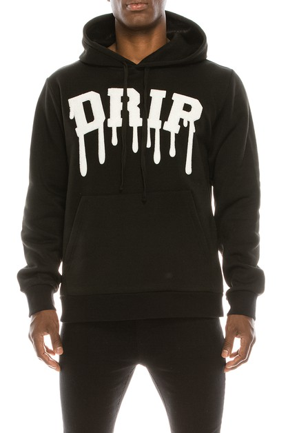 MEN DRIP CHENILLE PATCH FLEECE PULLO - orangeshine.com