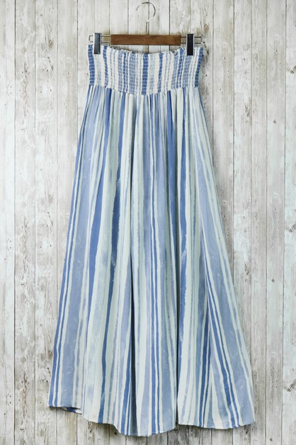 Stripes Smocked Wide Leg Pants - orangeshine.com