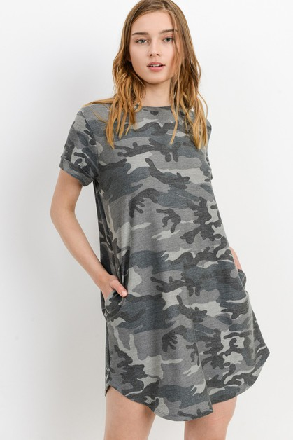 Camo printed french terry Tee Dress - orangeshine.com
