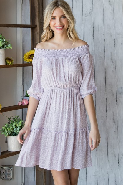 Puff Sleeve Smocked Dress - orangeshine.com