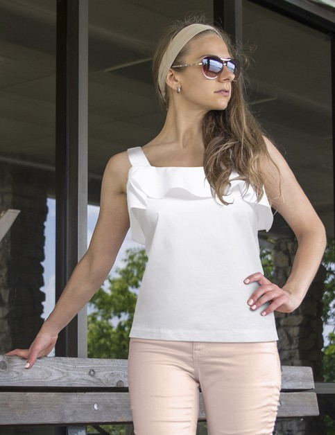 Womens Top Ruffles Short Sleeves - orangeshine.com
