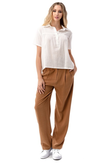 Two Button Wide Leg Slouchy Pants - orangeshine.com
