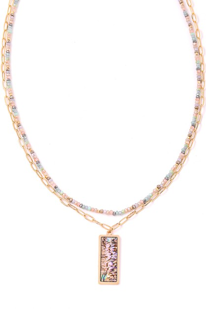 Rectangle Shell Pendant Chain Neckla - orangeshine.com