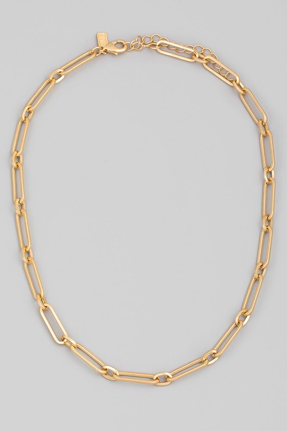 Flat Oval Chain Link Necklace - orangeshine.com