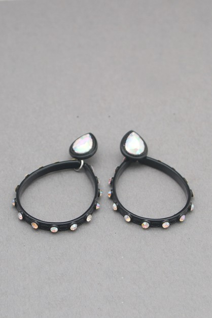 METAL RING WITH STONE DANGLE EARRING - orangeshine.com