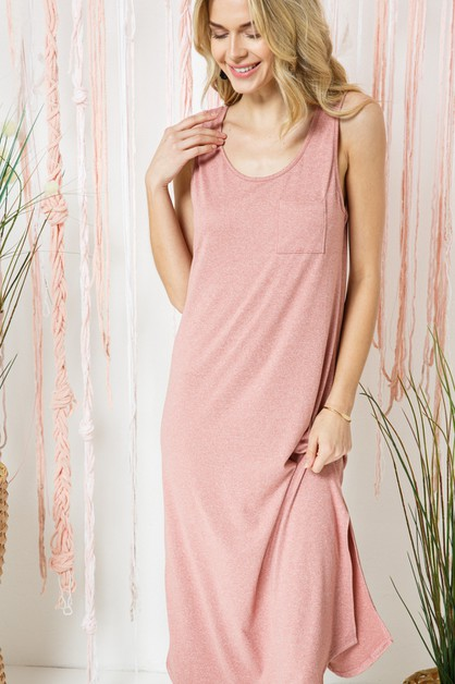 Soft Comfy Knit Maxi Dress w/ Pocket - orangeshine.com