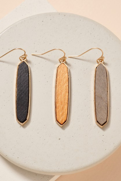 Wooden Geometric Dangling Earrings - orangeshine.com