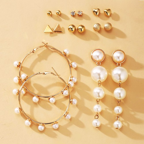 Boho pearl earring pack set - orangeshine.com