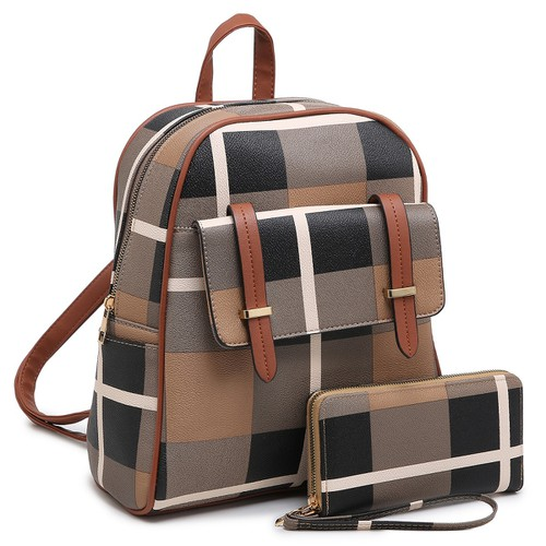 Plaid Check Flap Pocket 2-in-1 Bag - orangeshine.com