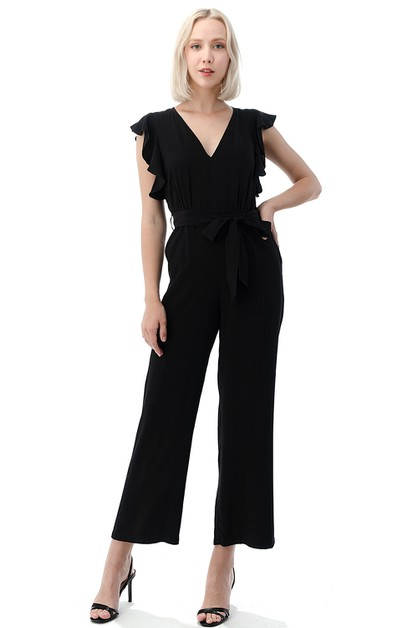 V-Neck Ruffle Sleeve Jumpsuit - orangeshine.com