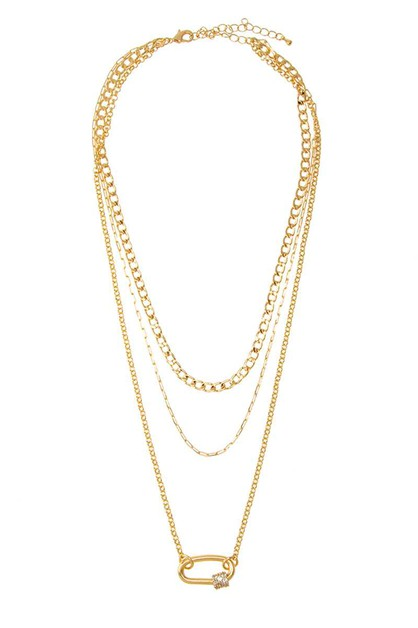 Three Layered Chain Necklace - orangeshine.com