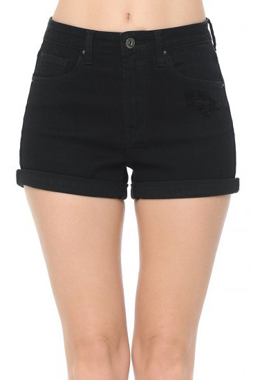 HIGH WAIST ROLLED CUFF SHORTS - orangeshine.com