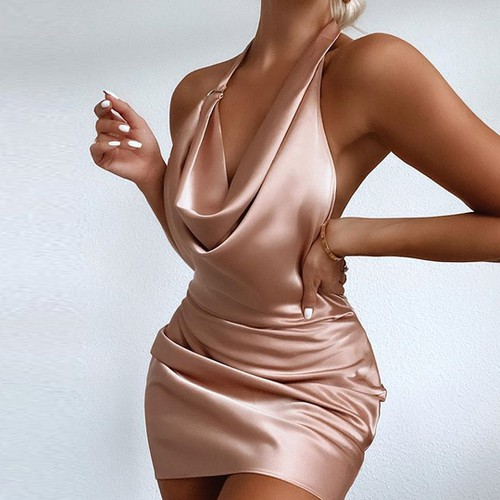 Cowl Neck Sexy Satin Party Dress - orangeshine.com