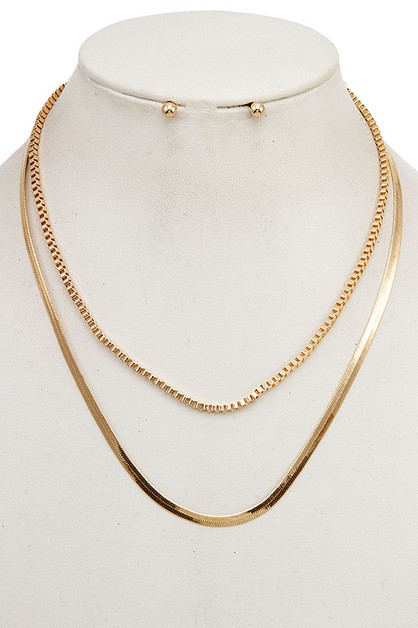 FLAT GLEAMING BOX CHAIN NECKLACE SE - orangeshine.com
