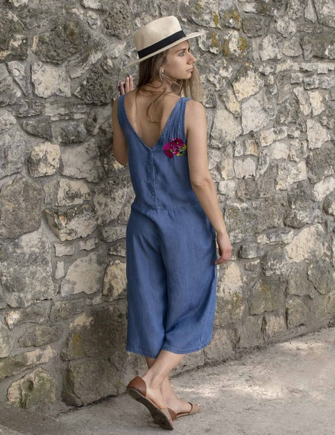 Womens Embroidered Denim Jump Suit - orangeshine.com