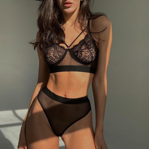 Sexy Lingerie Black Transparent Set - orangeshine.com