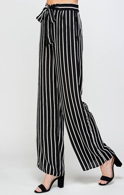 Striped Self Tie Palazzo Pants - orangeshine.com