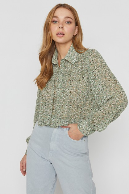 SHIRRED CROP BLOUSE - orangeshine.com