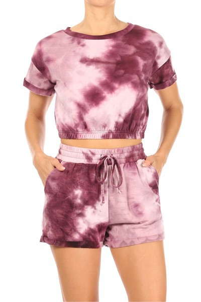 Tie Dye Casual Sets Crop Tops Shorts - orangeshine.com
