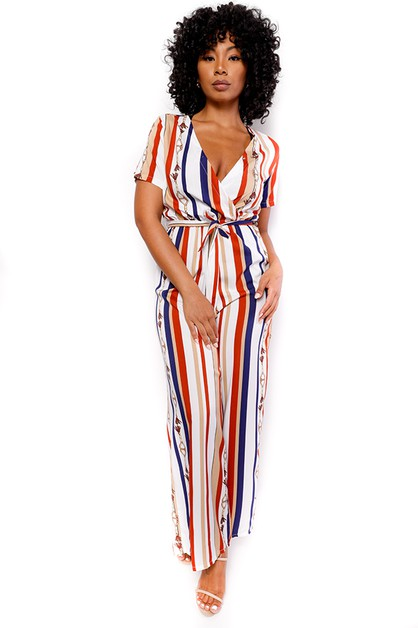 SHORT SLEEVE STRIPPED JUMPSUIT - orangeshine.com