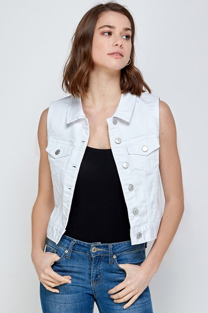 SLEEVELESS JEAN JACKET VEST - orangeshine.com