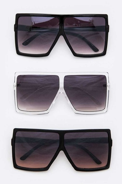 Oversize Square Sunglasses Set - orangeshine.com